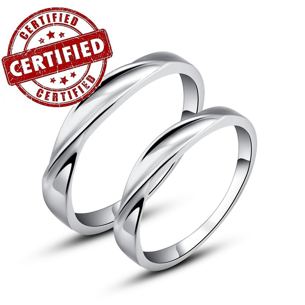 Certified 100% Solid Sterling Silver 925 18k Gold Plated Couple ...