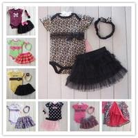 Wholesale Tutu Skirts Hot Sale Baby - 2014 Hot sale 14color Baby Girls 3 Pcs Suits Rompers+Lace TUTU Skirts+Headband fashion Summer Girls set