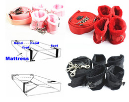 bedding for adults 2019 - Bondage Gear Nylon Under the Bed Mattress Bed Restraints System Handcuffs Wrist Leg Cuffs BDSM Adult Sex Toys for Couple