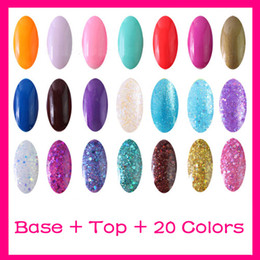 Wholesale Nails Polish Gold - 8ml Top Coat+Base Coat Primer+20 Color Polish Nail Art UV Gel Kit Soak off Polish Gelish UV lamp Glitter S003