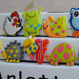 Wholesale Cute Fridge Magnet Toy - Lampwork Promotion Magnetic Stickers PVC Cartoon Animal Fridge Magnets Cute Paper Stickers Magnetic Toddler Toys Educational Kids Gift 8pcs