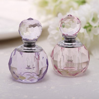 Wholesale Pink Crystal Perfume - Wedding gift crystal gift of round perfume bottles decoration wedding party gifts purple and pink in stock