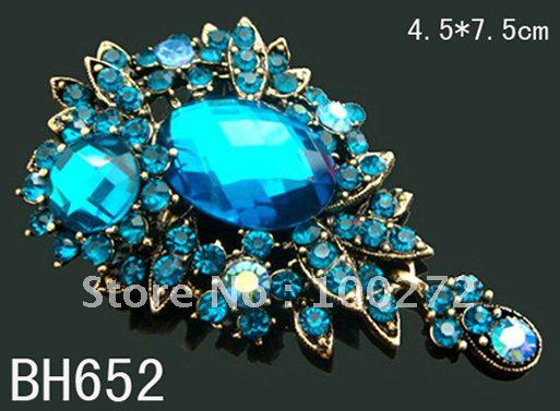Wholesale vintage pendant flower crystal rhinestone alloy brooch jewelry fashion brooch pin,12pcs lot mixed color BH652