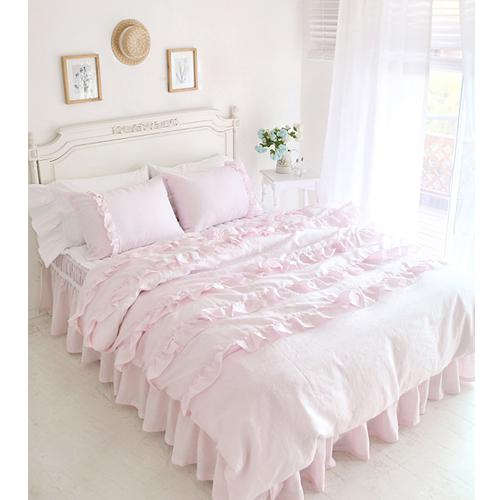 Textile Beautiful Pink Lace Ruffled Comforter Sets Duvet