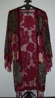 Wholesale Silk Long Kimonos - Free Shipping- Peacock Silk Velvet Coat kimono-Burgundy