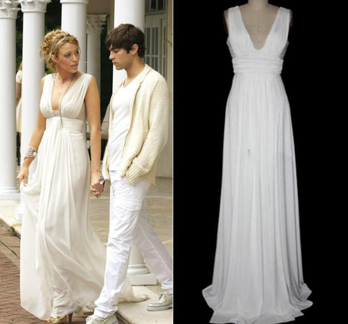 Greek Goddess Blake Lively Floor Length Prom Occasion Gown Flowing ...