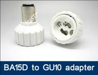 adaptador ba15d al por mayor-100pcs / lot BA15D a GU10 adaptador de luz LED lámpara BA15D-GU10 adaptador de lámpara GU10 a BA15D convertidor adaptador