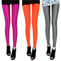 Wholesale Orange Shiny Leggings - New Fashion Women lady girl Fashion Candy Fluorescence Color Shiny Leggings Pants Tights