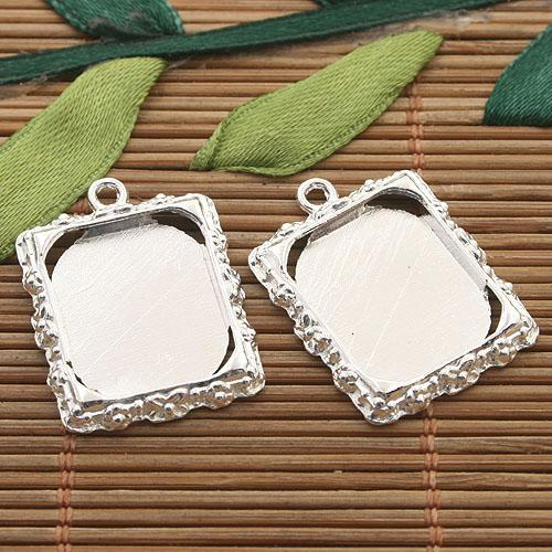 best selling 15pcs silver tone picture frame charm H3395