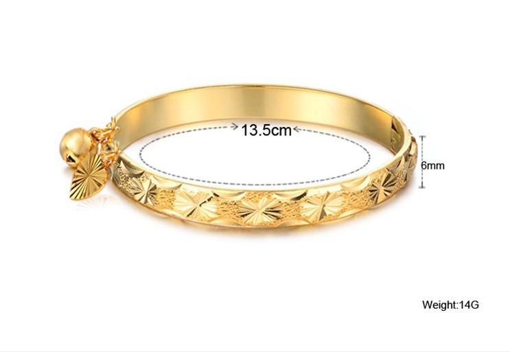 Goed gratis verzending N313 Mooie sieraden 18K vergulde armband hart bel baby kinderen armband 5.4 ''