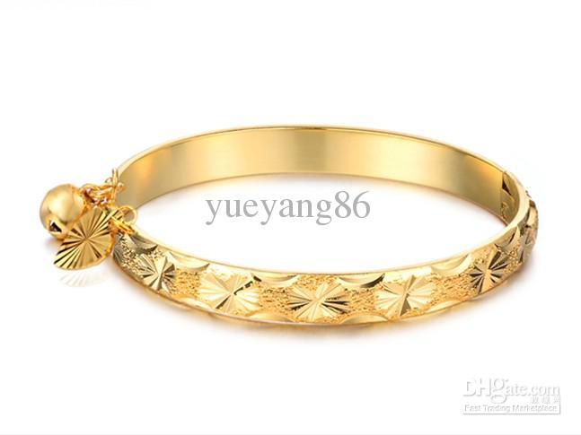 Buona spedizione gratuita N313 bella gioielli 18 k placcato oro braccialetto cuore campana bambino bambini braccialetto 5.4 ''