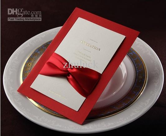 Customized Red Invitation Card With Satin Ribbon And White Double – Red White Wedding Invitations