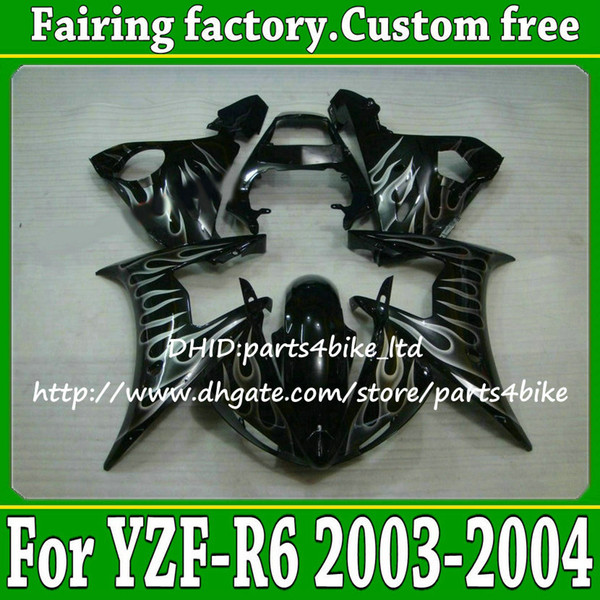 Fairing kit for YAMAHA YZF R6 03 04 YZF-R6 2003 2004 silver flame black fairings with 7gifts v1