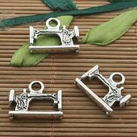 Wholesale Sewing Machine Silver Charms - 25pcs dark silver tone sewing machine charm H3416