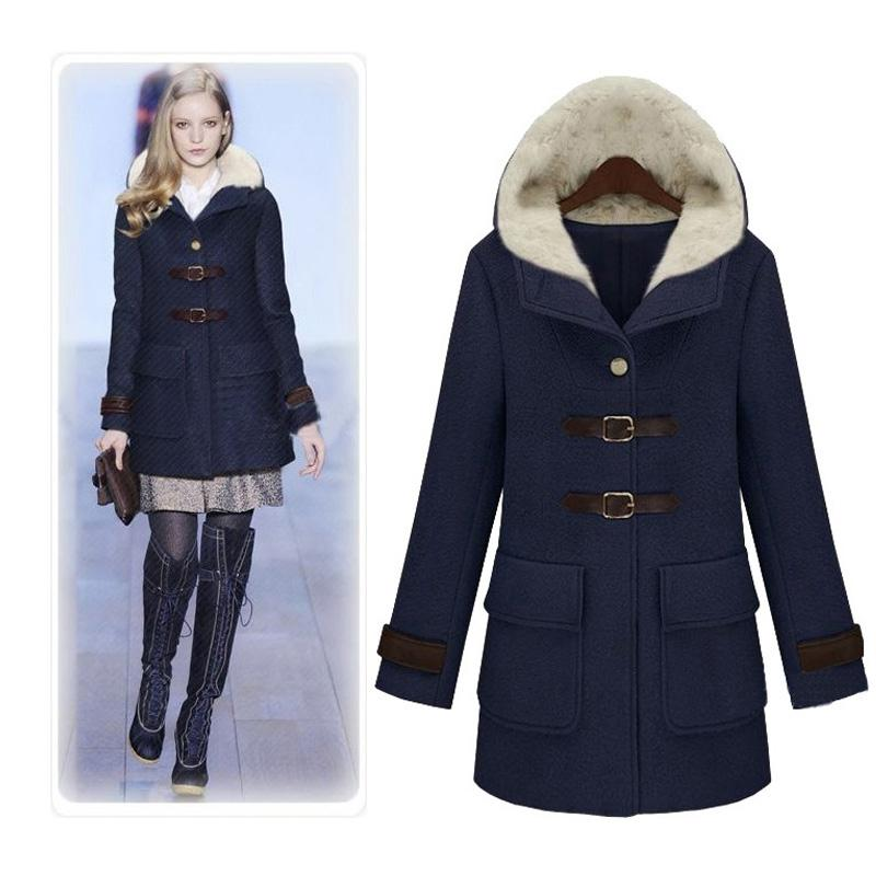 2018 Womens Coats Hooded Clothing Big Pockets Wool Coats Fitted ...