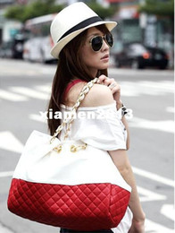 Wholesale Red Totes Bag - New hotselling womens designer PU leather shoulder bag Diamond lattice totes handbags