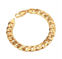(164B)18K Yellow Gold Filled Chain Bracelet Men (200*10mm) with Environmental Copper on Sale