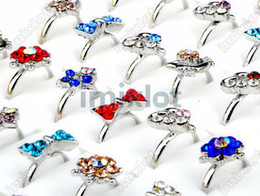 Wholesale Kid Rings Adjustable - Lot 20pcs Silver Plated Assorted Design Crystal Ring Cute Kid Child Party Small Size Adjustable [KR20*20]