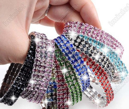 Wholesale Row Stretch Rhinestone Bracelet Crystal - Hot~! Stretch Crystal 3 Rows Rhinestone Fashion Girl Lady Bracelet Jewelry 12pcs lot Wedding Free [B418