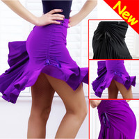 Wholesale Black Latin Dance Skirts - 2014 Hot Fashion Latin Tango Chacha Ballroom Dance Dress Skirt Purple   Black