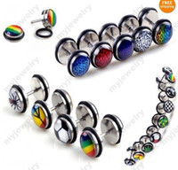 Wholesale Body Jewellry - 20pcs Wholesale Body Jewellry Lots Fake Ear Plug Cheater Expanders 3style Fashion Earrings studs Plugs & Tunnels [bb46-bb61M*20]