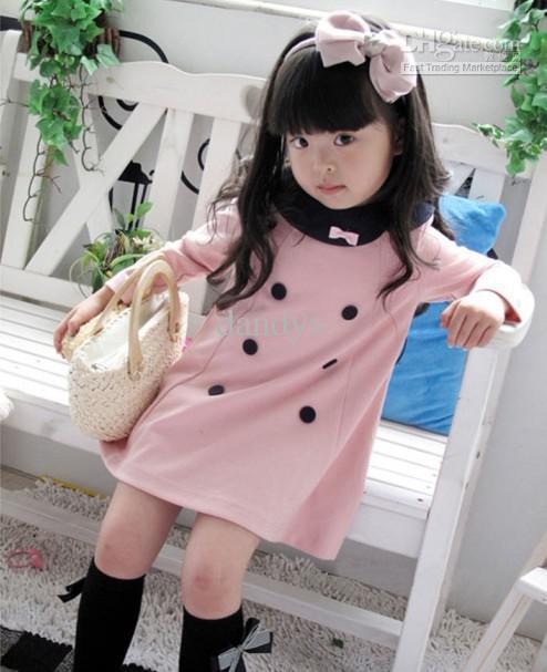 new dress girls lapel long sleeve A dress 5pcs/lot asdy