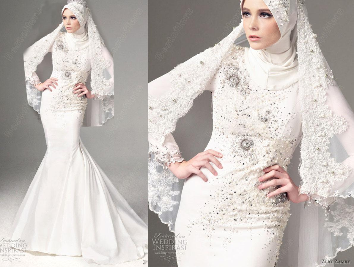 Muslim Wedding Dress White Wedding Gown Women Dresses Blingbling ...