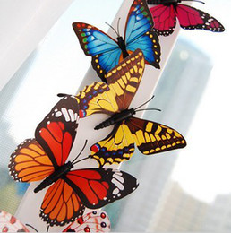 Wholesale Wholesale Butterfly Magnets - 6cm Beautiful Butterfly Fridge Magnets Cute Butterfly Pins Wedding Favors 100pcs lot FM013
