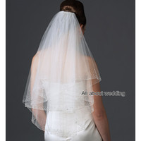 Wholesale Crystal Veils Wholesale - Free Shipping High Quality Elbow Length 2 Layer Crystal Beaded Tulle Wedding Bridal Veil Hair Accessory