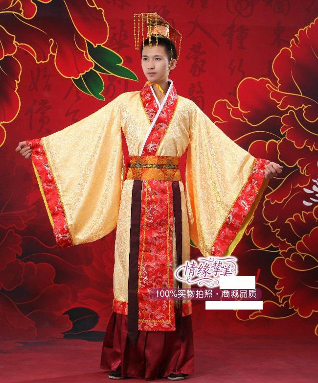 Online Cheap Yellow Hanfu For Man Tang Costume Chinese ...