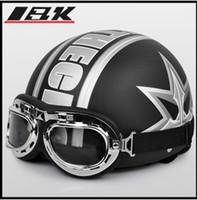Wholesale Types Vespa Helmets - Motorcycle helmet ABS portable-type Scooter Open Face Vespa Bicycle Matt Black grapheme Casco & Goggles Adult M L XL - A.09