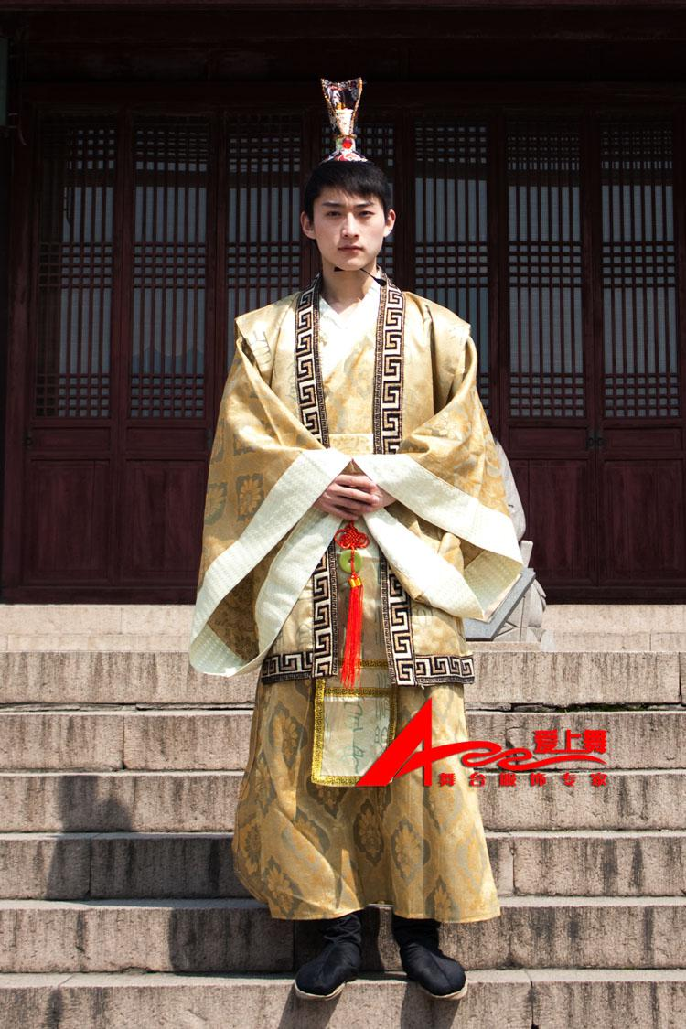 2020 tang costume yellow hanfu for man traditional chinese