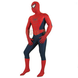 Wholesale Male Lycra - Fantastic!!! Red and navy Blue halloween Lycra Spandex Spiderman Hero Zentai Costume cosplay adult