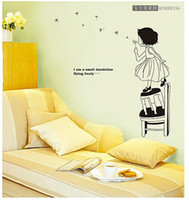 Wholesale Vinyl Cpa Stickers - CPA-FREE free shipping modern 3D home decoration removable little girl with dandelion wall sticker home decal