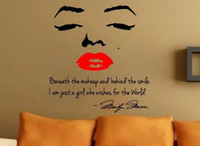wall decals quote lips achat en gros de-Marilyn Monroe Wall Decal Decor Quote Visage Lèvres rouges Grand autocollant de Nice