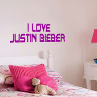 Wholesale Decals For Purple Room - JUSTIN BIEBER BEIBER WALL ART BEDROOM STICKER DECAL I LOVE JUSTIN BIEBER PURPLE