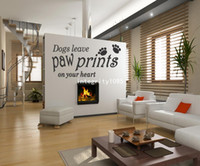 dog quotes wall decals achat en gros de-Les chiens quittent Paw Prints sur votre coeur - Vinyl Art Wall Sticker Decal Citation Removab