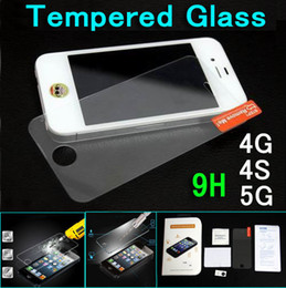 Wholesale Iphone 5g Screen Protector - Tempered Glass Screen Protector explosionproof Glass Film Glass film for iPhone 4S 4G 5 5G + Retail Package