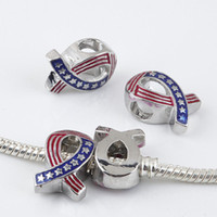 100Pcs Rabbon Breast Cancer Awareness, American Flag Ribbon Charms Большая дыра Европейские бусины Fit Charm Bracelets