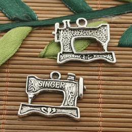 Wholesale Sewing Machine Silver Charms - 20pcs dark silver tone SINGER Sewing Machine charms H3436