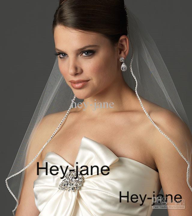 Gratis verzending een laag bruiloft bruids sluier witte ivoor elleboog lengte kristal kralen met kam echte foto