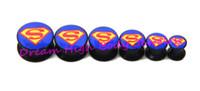 Wholesale Superman Ear Tunnels - Flesh Tunnel Screw Ear Plugs 6 to 16mm Black Acrylic Motifs Ear Expander Fashion Body Piercing Jewelry Ear Ring Superman Rock Newest Hot