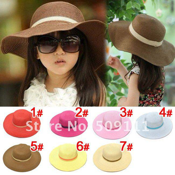 top popular Hot style Baby girl straw sun hats sunhats for kids wide brim beach hat Children caps 10pcs 2019