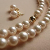 Wholesale Pearl Akoya White - AAA+ 7-8MM White Akoya Pearl Necklace17.5inch +Earring 14k