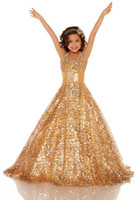 Wholesale Hot Pink Glitz Pageant Dresses - 2013 Hot Halter Sequins Lace Gold Ball gown Beads Glitz pageant dresses Girl's Party Dresses dhyz 03