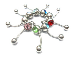 Wholesale Cheap Wholesale Piercing Jewelry - Belly Rings Belly Button Rings Belly Piercing Navel Ring Body Piercing Navel Ring Navel Rings DIY Jewelry 100pcs Lot The Cheap