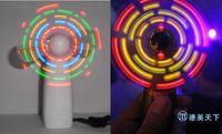 Wholesale Small Fan Led Lights - Free EMS 50pcs baby gift Led Small fan Novelty girl's LED Color Matrix Light Hand Portable Mini Fan Fans Changing Light Up Travel Cool Fan