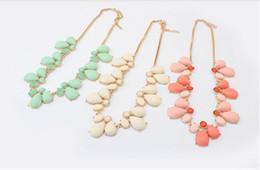 Wholesale Necklaces Choker Style - New Arriva 4pcs lot l Korean Style Gold Plated Alloy Colorful Resin Drop flower Choker Necklaces mix colors