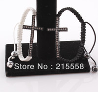 Wholesale Sideways Bar Bracelets - 2013 Free Shipping Fashion Curved Sideways Cross Bracelet Honesty Rhinestone Crystal Shamballa Bracelet