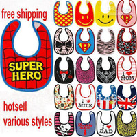 Free shipping cotton Skull Superman spider- man baby bibs wat...